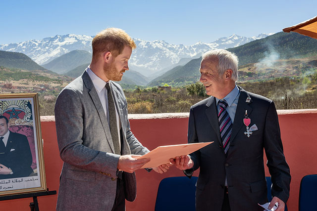 Mike McHugo receiving his MBE from HRH The Duke of Sussex